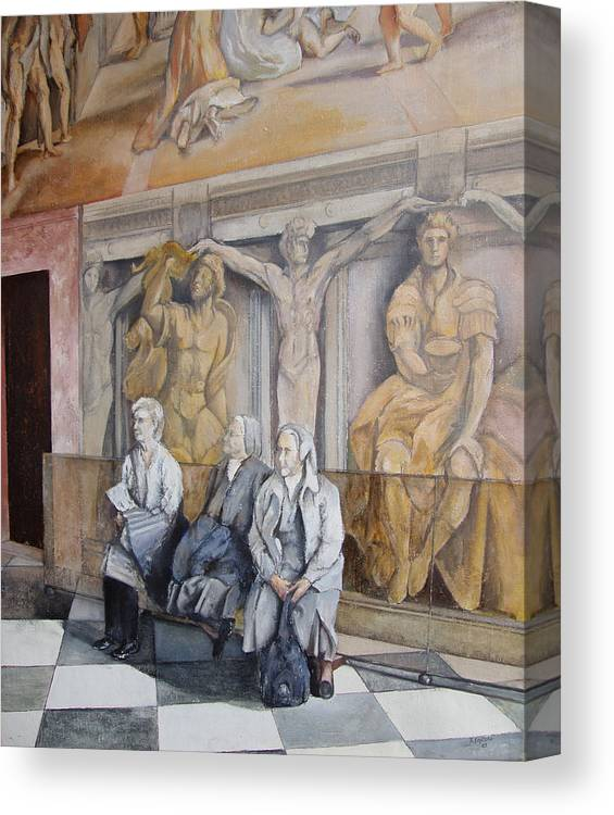 Vaticano Canvas Print featuring the painting Reposo En El Vaticano by Tomas Castano
