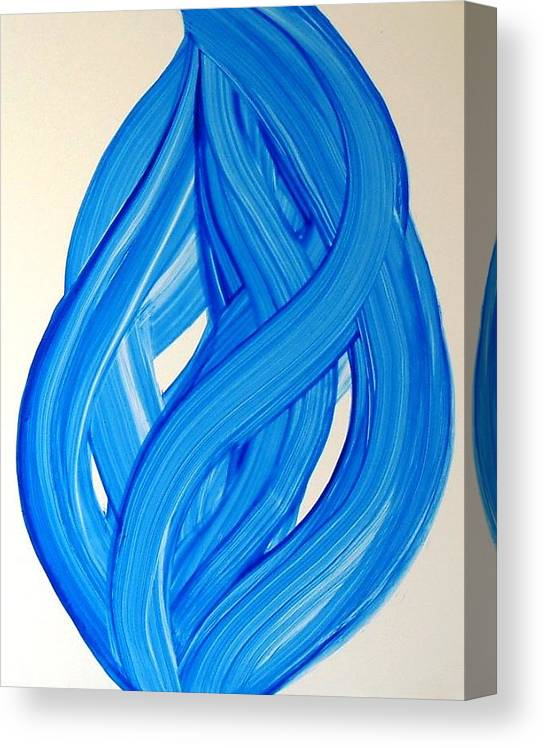 Abstract Modern Contemporary Yupo Art Painting Romantic Pop Blue Canvas Print featuring the painting Ribbons of Love-Blue by Manjiri Kanvinde