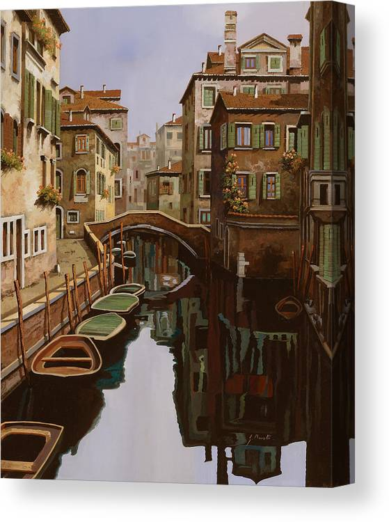 Venice Canvas Print featuring the painting Riflesso Scuro by Guido Borelli