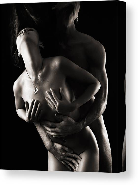 Sex Canvas Print featuring the photograph Romantic Nude Couple Making Love by Maxim Images Prints