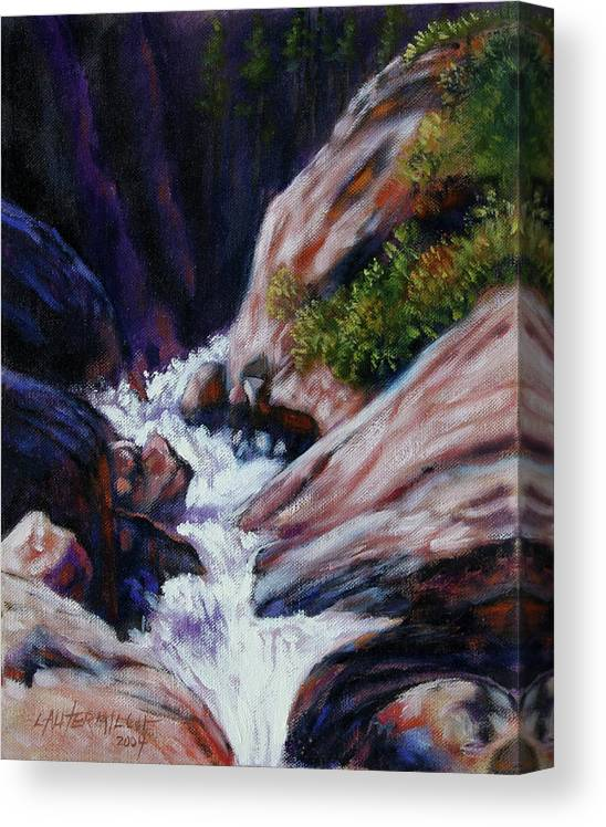 Mountain Stream Canvas Print featuring the painting Rushing Waters two by John Lautermilch