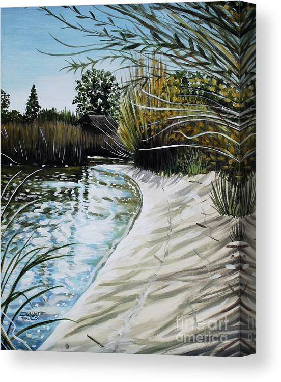 Landscape Canvas Print featuring the painting Sandy Reeds by Elizabeth Robinette Tyndall