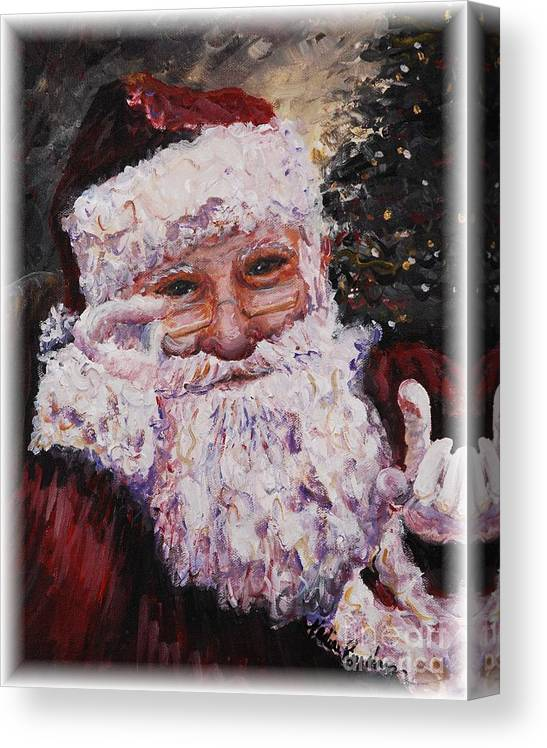 Santa Canvas Print featuring the painting Santa Chat by Nadine Rippelmeyer