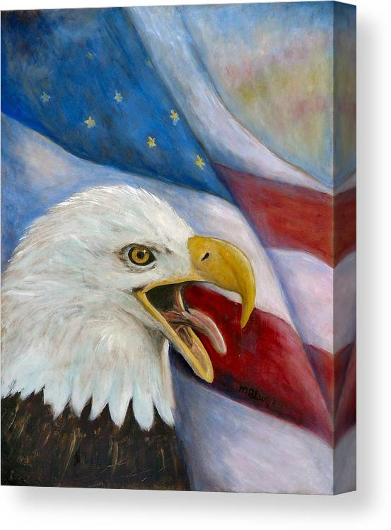Birds Canvas Print featuring the painting Screaming Eagle by Merle Blair