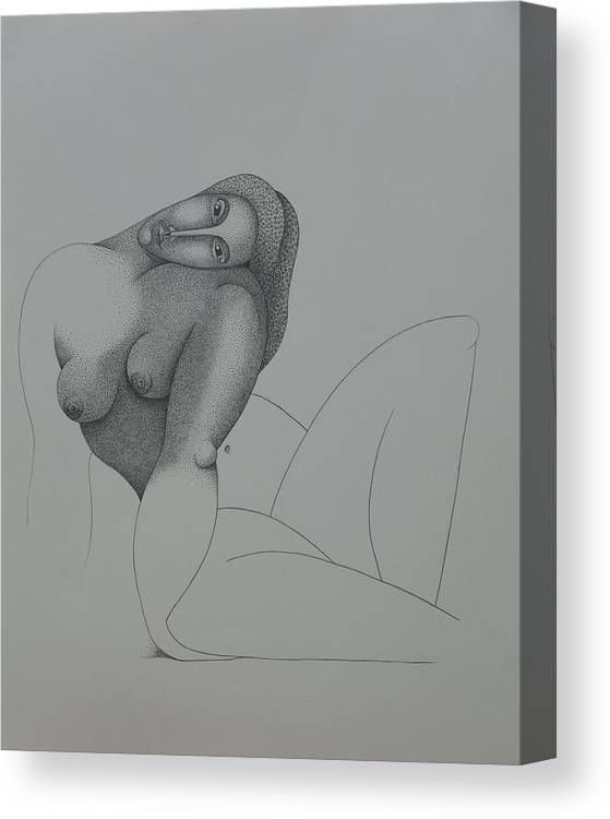 Sacha Circulism Canvas Print featuring the drawing Seated Nude 2008 by S A C H A - Circulism Technique