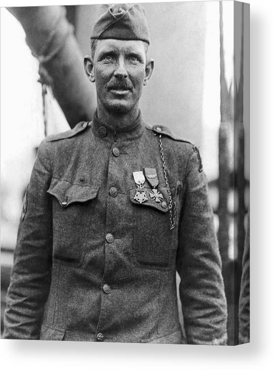 Alvin York Canvas Print featuring the photograph Sergeant York - World War I Portrait by War Is Hell Store