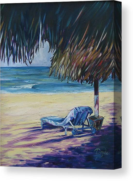 Beach Canvas Print featuring the painting Shady Beach by Karen Doyle