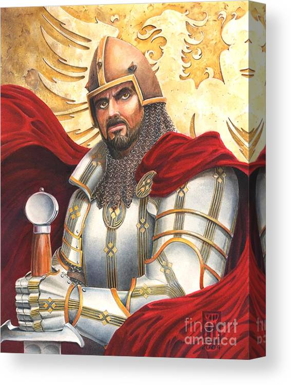 Swords Canvas Print featuring the drawing Sir Gawain by Melissa A Benson