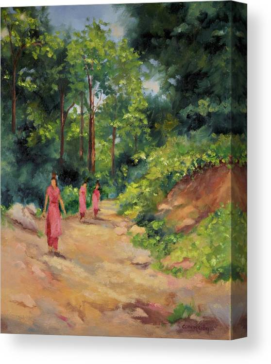Nepal Landscapes Canvas Print featuring the painting Sisters in Nepal by Ginger Concepcion