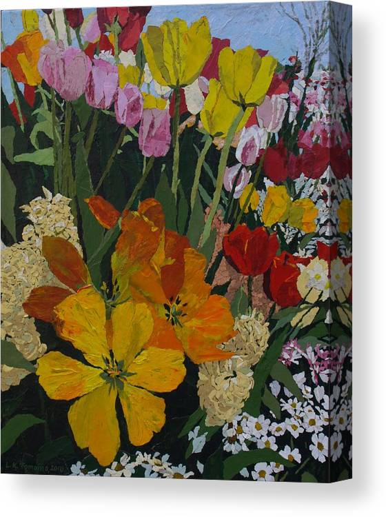 Floral Canvas Print featuring the painting Smith's Bulb Show by Leah Tomaino