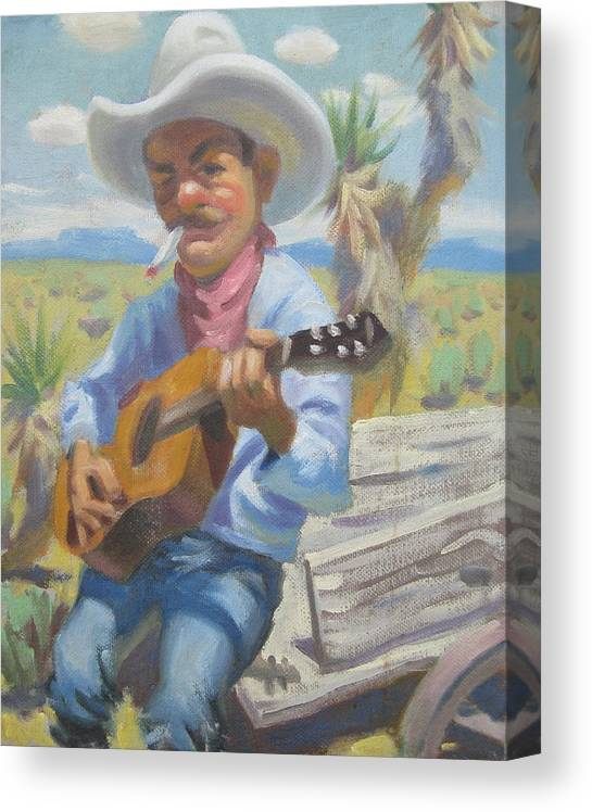Cowboy Smokin And Playing A Guitar Sitting On The Back Of A Wagon Canvas Print featuring the painting Smokin Guitar Man by Texas Tim Webb