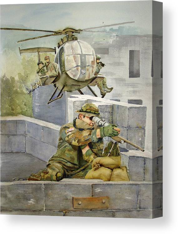 Soldier Canvas Print featuring the painting Sniper Military Tribute by Kerra Lindsey