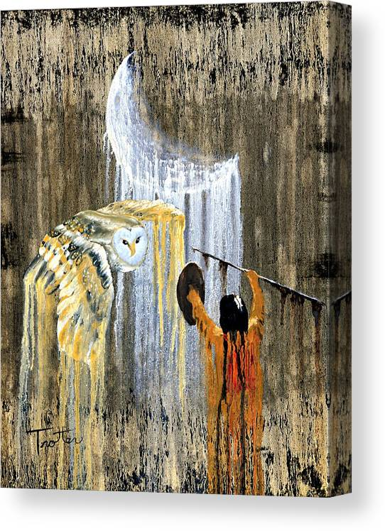 Indian Art Canvas Print featuring the painting Spirit of the Night by Patrick Trotter