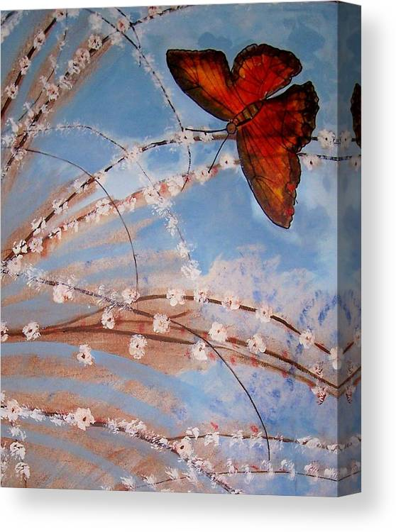 Butterfly Canvas Print featuring the painting Spring Butterfly by Martha Mullins