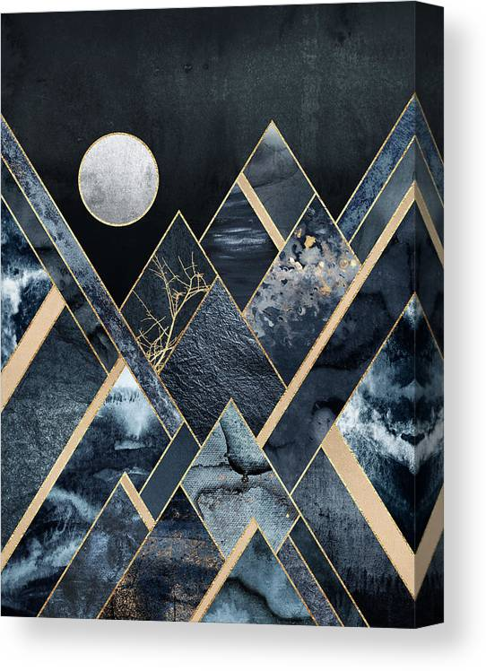 Graphic Canvas Print featuring the digital art Stormy Mountains by Elisabeth Fredriksson