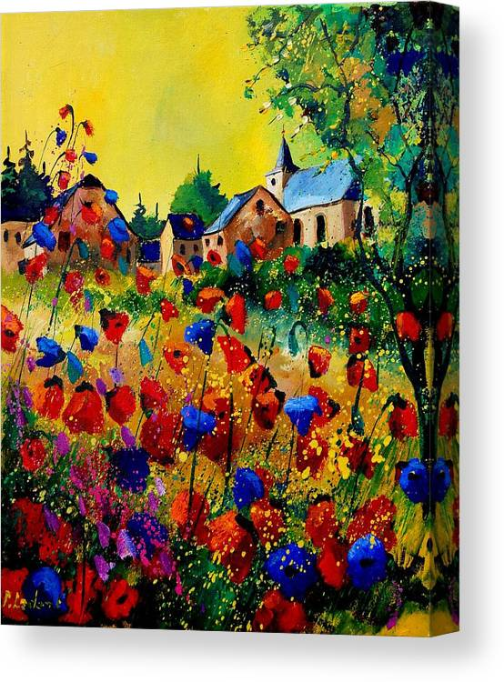 Poppy Canvas Print featuring the painting Summer in Sosoye by Pol Ledent