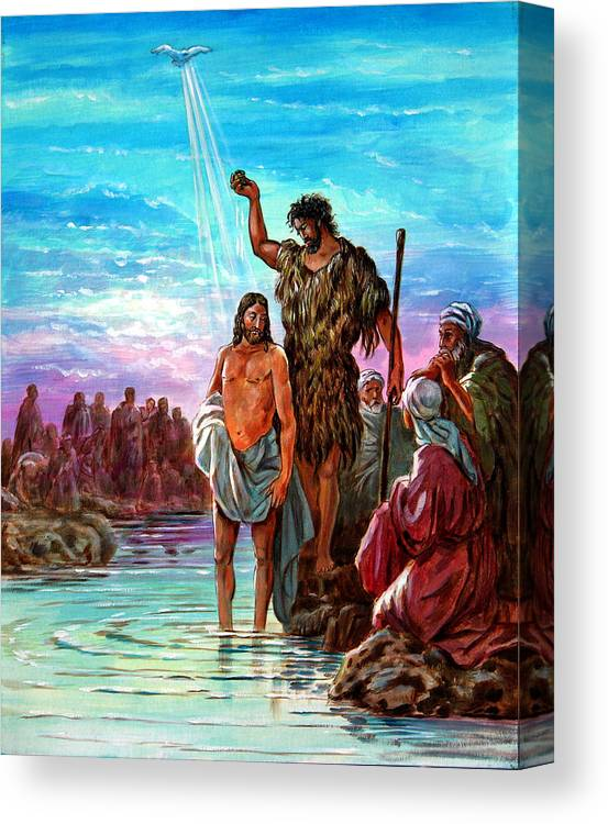 Jesus Canvas Print featuring the painting The Baptism of Jesus by John Lautermilch