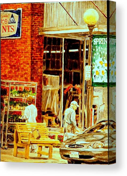 Small Town Canvas Print featuring the painting The Bed Planters by Thomas Akers