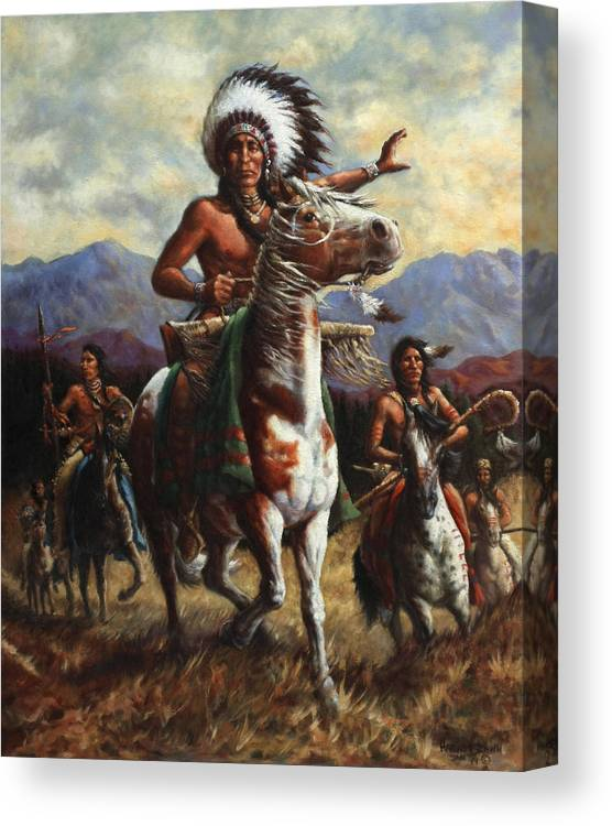 Native American Canvas Print featuring the painting The Chief by Harvie Brown