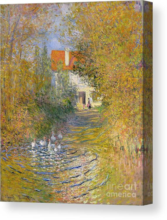 French Canvas Print featuring the painting The Duck Pond by Claude Monet