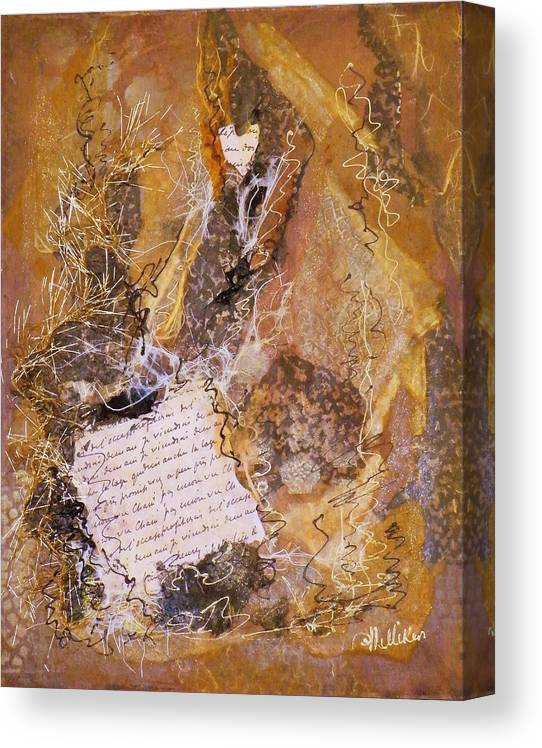 Mixed Media Canvas Print featuring the painting The Golden Word by Tara Milliken