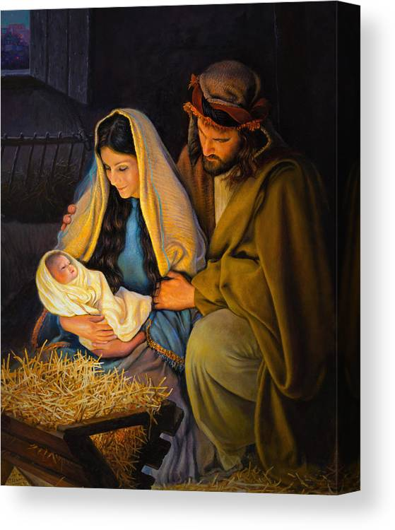 Jesus Canvas Print featuring the painting The Holy Family by Greg Olsen