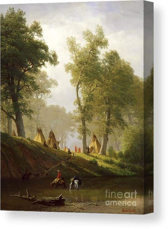 The Canvas Print featuring the painting The Wolf River - Kansas by Albert Bierstadt