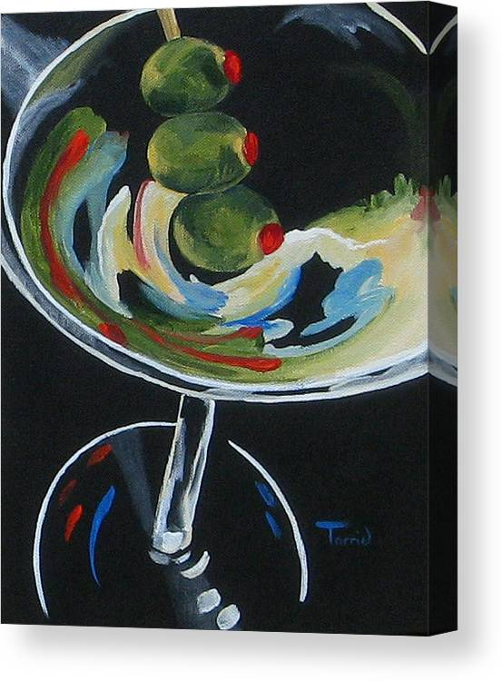 Martini Canvas Print featuring the painting Three Olive Martini V by Torrie Smiley