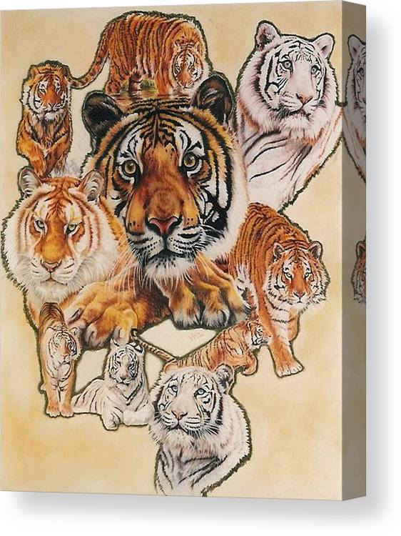 Tiger Canvas Print featuring the pastel Tiger Haven by Barbara Keith