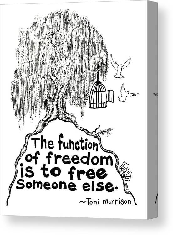 Pen And Ink Illustration Canvas Print featuring the drawing Toni Morrison Tree Drawing by Rick Frausto