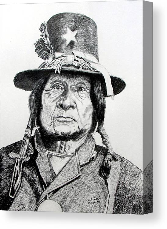 Indian Canvas Print featuring the drawing Tosawi Comanche Chief by Stan Hamilton