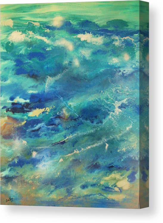 Contemporary Sea Canvas Print featuring the painting Transformation by Annie Rioux
