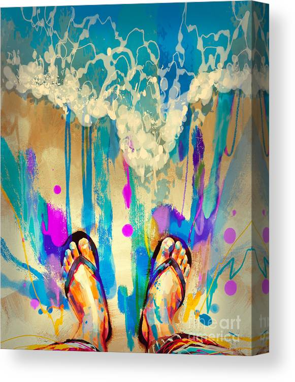 Abstract Canvas Print featuring the painting Vacation Time by Tithi Luadthong