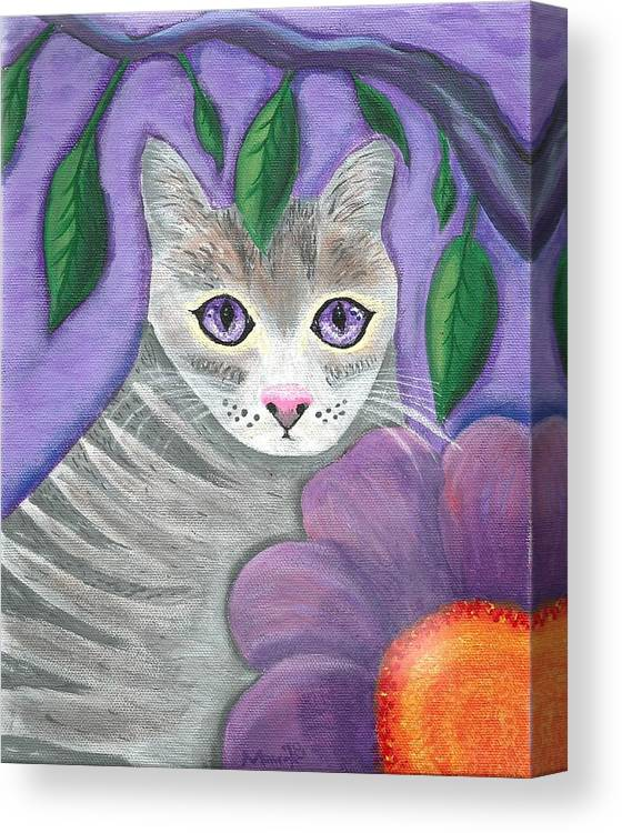 Violet Purple Lavender Eyes Kitty Cat Flower Floral Tabby Grey Canvas Print featuring the painting Violet Eyed Cat by Monica Resinger