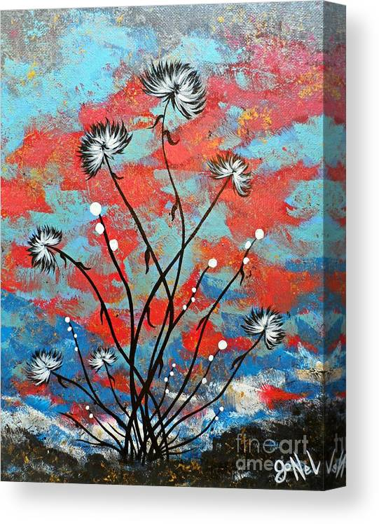 Flower Canvas Print featuring the painting Whimsical Abstract Flower Artwork Running Wild by JoNeL Art
