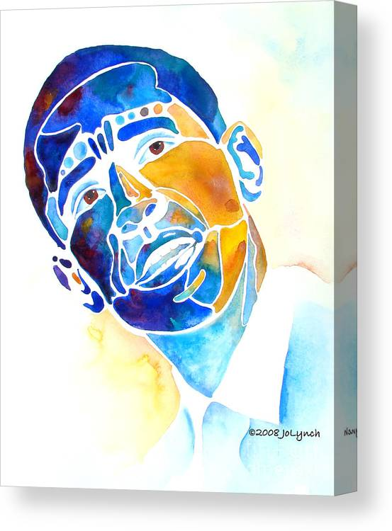 Obama Canvas Print featuring the painting Whimzical Obama by Jo Lynch