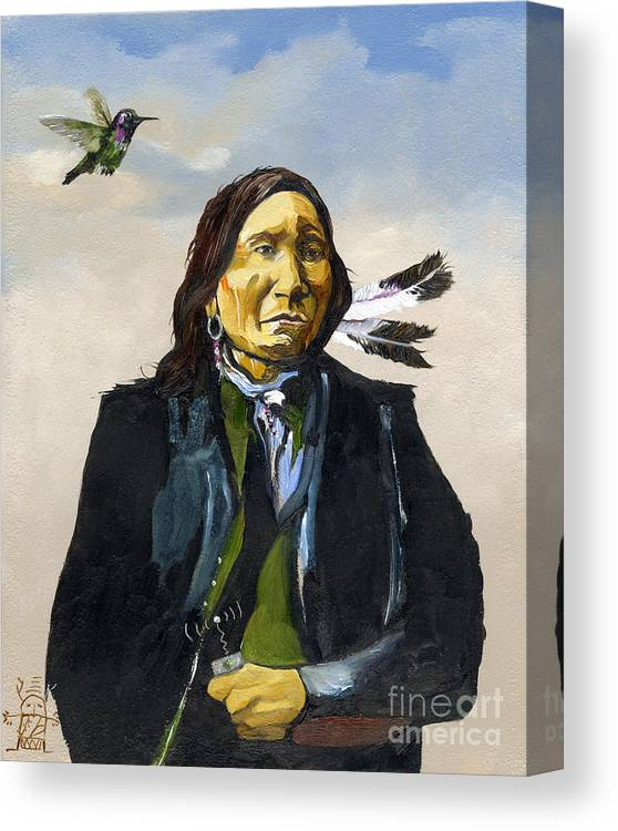 Shaman Canvas Print featuring the painting Wireless Connection by J W Baker