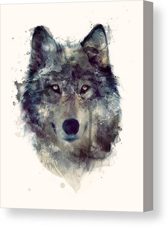 Wolf Canvas Print featuring the painting Wolf // Persevere by Amy Hamilton