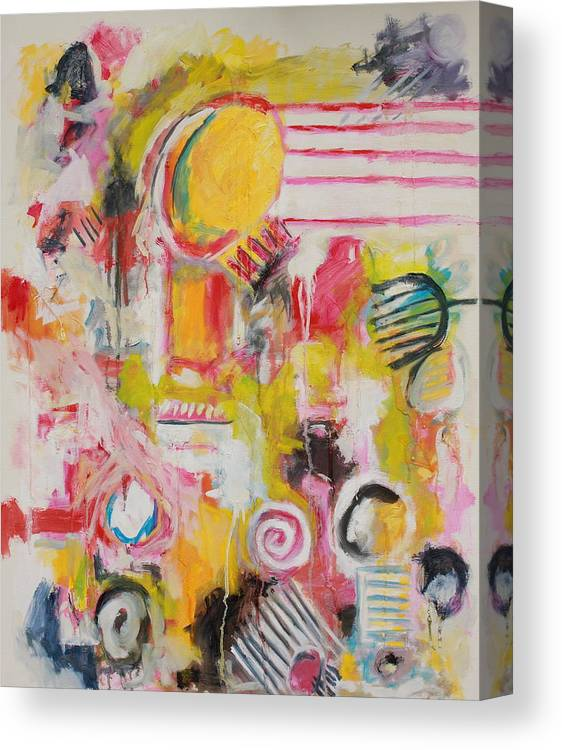 Abstract Canvas Print featuring the painting Woman Doing Her Hair and Nails by Michael Henderson