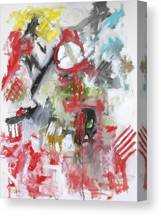 Abstract Canvas Print featuring the painting Woman With A Red Comb by Michael Henderson
