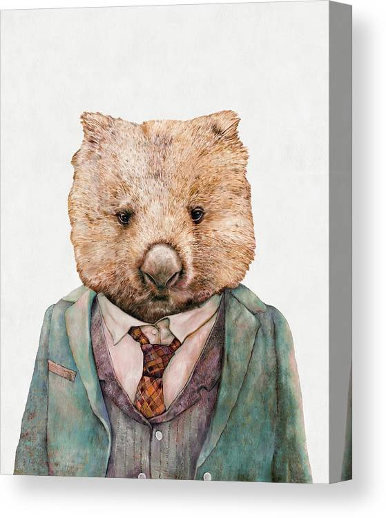 Wombat Canvas Print featuring the painting Wombat by Animal Crew