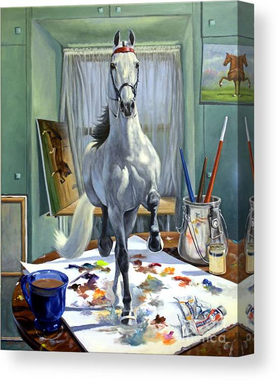 American Saddlebred Art Canvas Print featuring the painting Work In Progress V by Jeanne Newton Schoborg