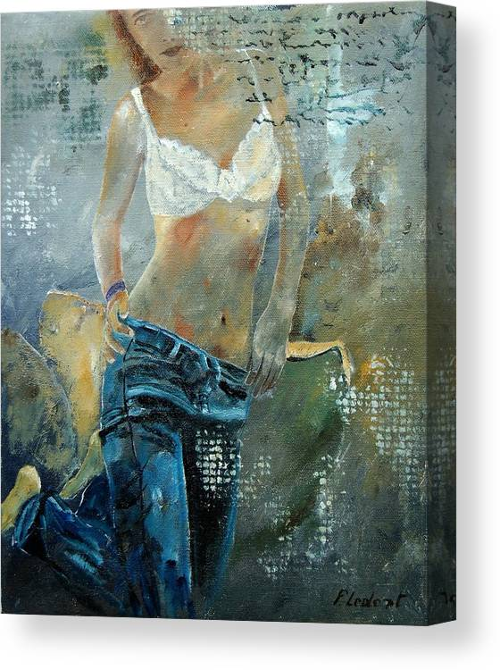 Girl Canvas Print featuring the painting Young girl in jeans by Pol Ledent