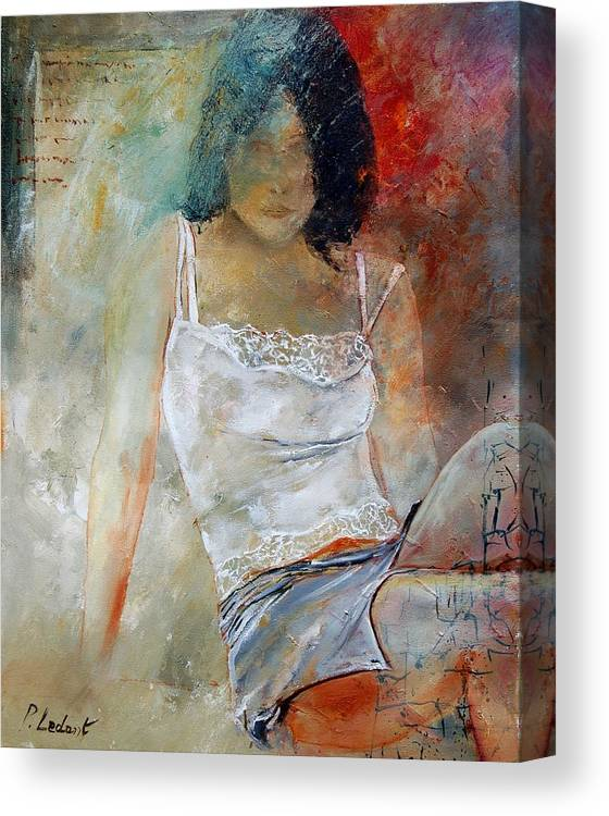 Nude Canvas Print featuring the painting Young Girl Sitting by Pol Ledent