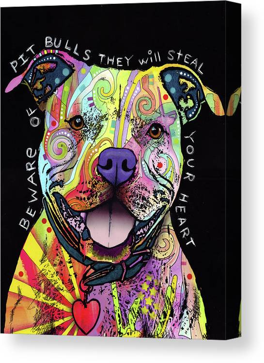 Beware Of Pit Bulls Canvas Print featuring the mixed media Beware Of Pit Bulls by Dean Russo