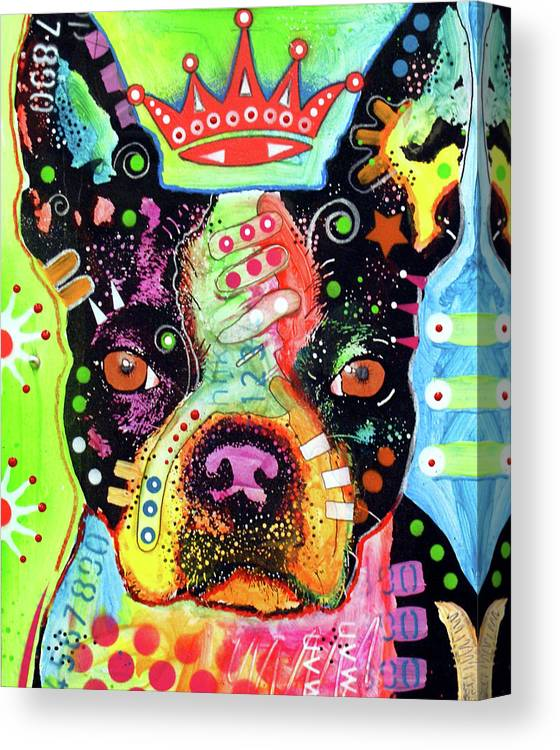 Boston Terrier Crowned Canvas Print featuring the mixed media Boston Terrier Crowned by Dean Russo