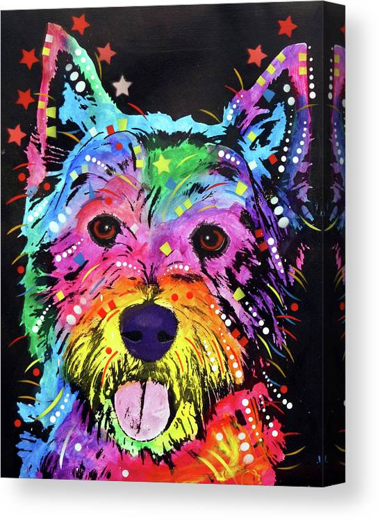 Westie Canvas Print featuring the mixed media Westie by Dean Russo