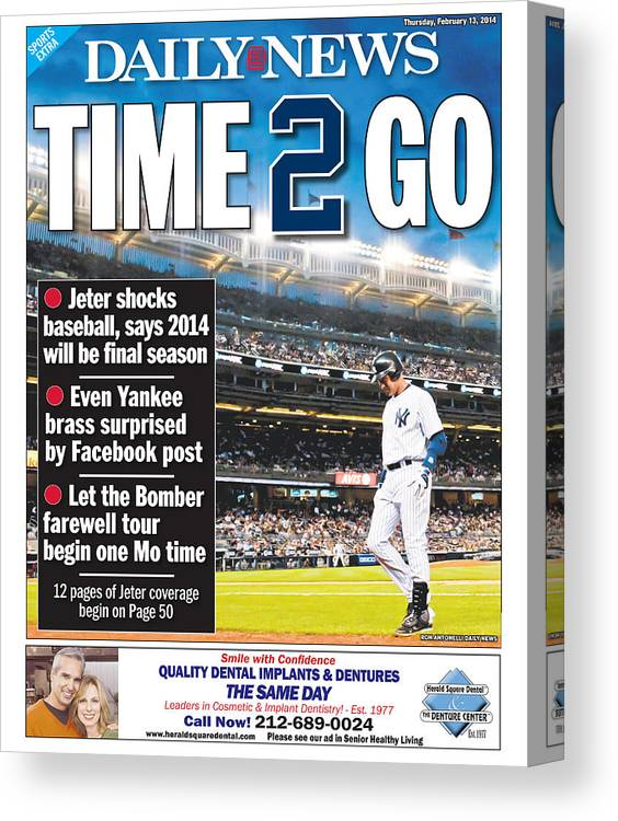 American League Baseball Canvas Print featuring the photograph Daily News Back Page Derek Jeter by New York Daily News