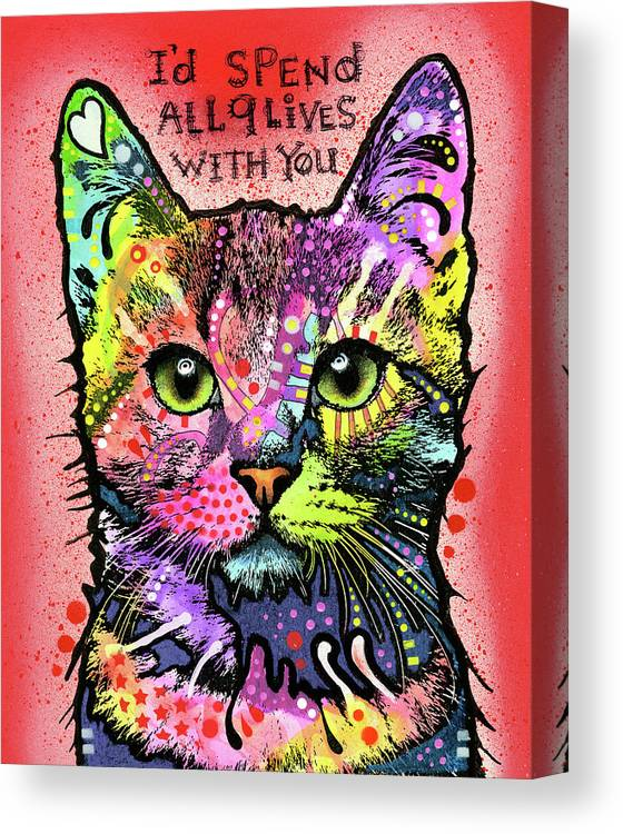 I?d Spend All 9 Lives With You Canvas Print featuring the mixed media 9 Lives by Dean Russo