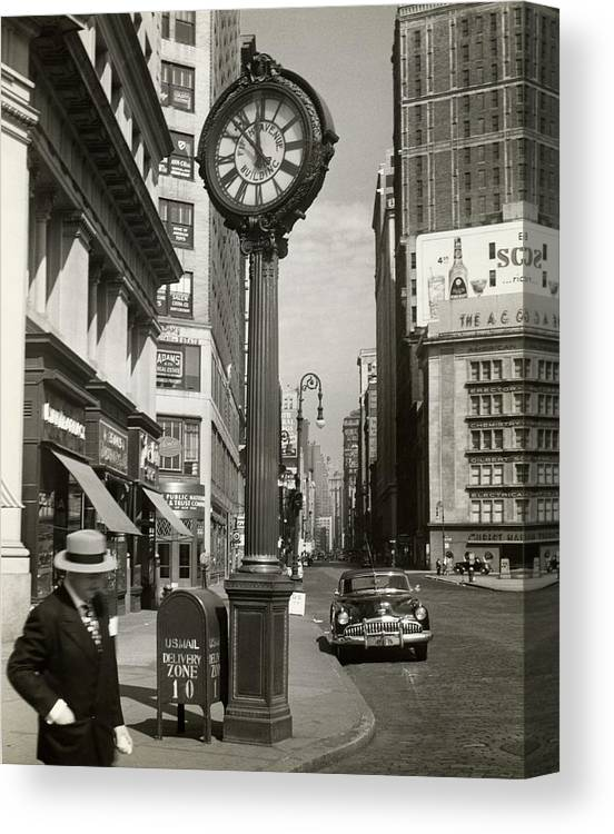 Public Mailbox Canvas Print featuring the photograph A Street Clock On Fifth Ave., Nyc by George Marks
